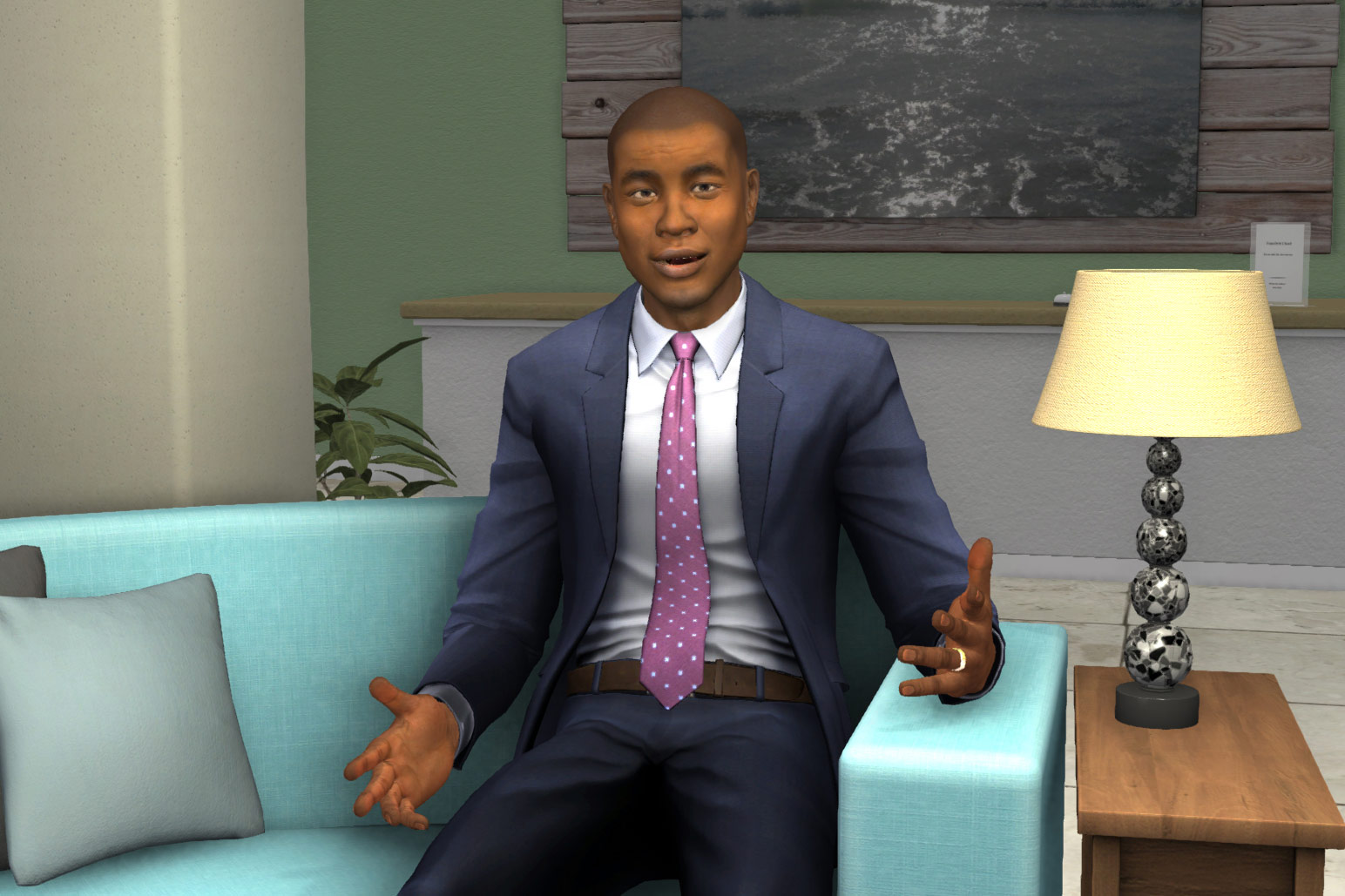 Kevin, a Virtual Interactive Training Agent named Kevin who was designed by the University of Southern California Institute for Creative Technologies to help students that have autism spectrum disorders. (Illustration/Courtesy of the Institute for Creative Technologies)