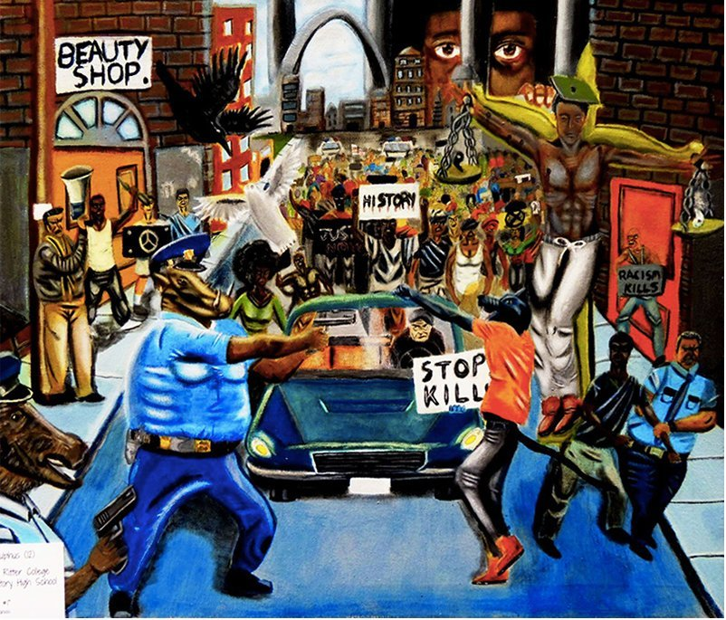 """Untitled #1"" by David Pulphus has drawn criticism from Bay Area police unions who say it depicts officers as warthog-like creatures. The acrylic painting was selected as the winner of Missouri Congressman William Lacy Clay's 16th annual Congressional Art Competition last spring. (Courtesy of the San Jose Police Officers Association)"